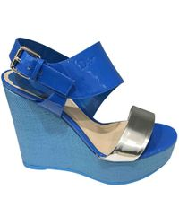 Dior - Blue Leather Sandals - Lyst