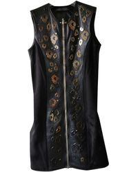 Anthony Vaccarello Leather Mini Dress - Black