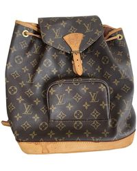 Louis Vuitton Mochila Montsouris de Lona - Marrón