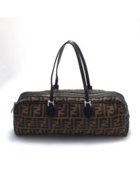 Fendi Brown Cloth Handbag - Black