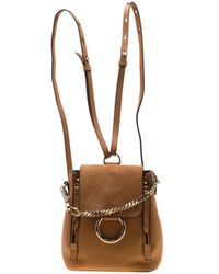 Chloé Faye Brown Leather Backpack