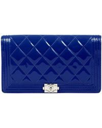 Chanel Boy Blue Patent Leather