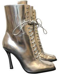 CALVIN KLEIN 205W39NYC Leather Boots - Metallic