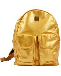 MCM - Gold Leather Travel Bag - Lyst
