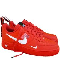 Nike Air Force 1 Leather Low Trainers - Orange