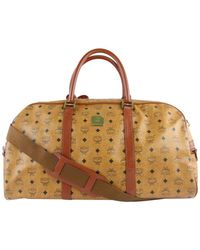 MCM Brown Cloth Travel Bag