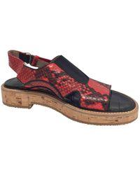 Dries Van Noten - Red Leather Sandals - Lyst