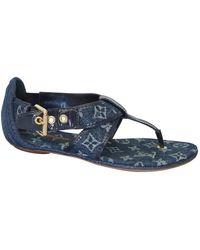 Louis Vuitton Leinen Flip-flops - Blau