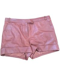 Ferragamo Pink Leather Shorts