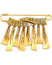Hermès - Pre-owned Vintage Gold Metal Pins & Brooches - Lyst