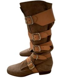 Vivienne Westwood \n Beige Suede Boots - Natural