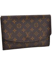Louis Vuitton Leinen Clutches - Braun