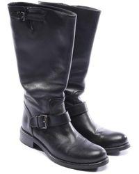 Bottega Veneta Leather Biker Boots - Black