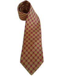 Hermès Corbatas en seda dorado - Metálico