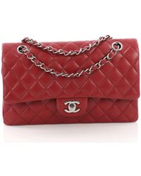 ff22cfe0c1b116 Chanel - Pre-owned Timeless/classique Red Leather Handbags - Lyst