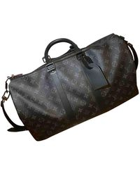 Louis Vuitton Keepall Leinen Reise tasche - Schwarz