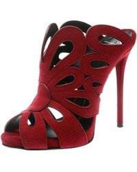 782326bab4bdd Giuseppe Zanotti Suede & Goldtone Overlay Sandals in Red - Lyst
