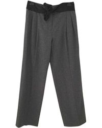 Lanvin - Pre-owned Grey Wool Trousers - Lyst