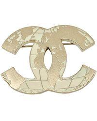 Chanel Spilla in metallo dorato CC - Metallizzato