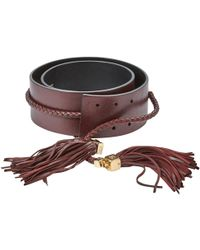 Chanel - Burgundy Leather Belts - Lyst
