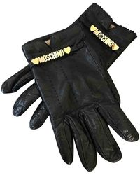 Moschino Black Leather Gloves