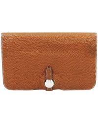 Hermès - Dogon Brown Leather Wallets - Lyst