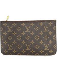 Louis Vuitton Neverfull Leinen Clutches - Braun