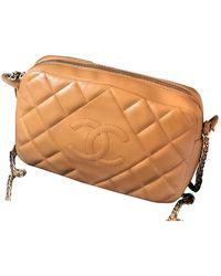Chanel Camera Beige Leather Handbag - Natural