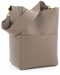Céline Seau Sangle Beige Leather Handbag - Natural
