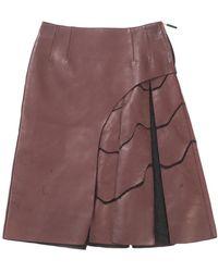 Fendi Burgundy Leather Skirt - Purple