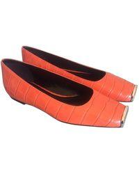 CALVIN KLEIN 205W39NYC Alligator Ballet Flats - Orange