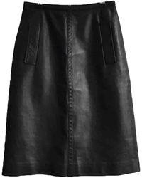 Bottega Veneta Leather Mid-length Skirt - Black