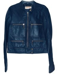 Michael Kors Leather Biker Jacket - Blue