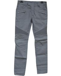 Balmain - Pre-owned Grey Cotton Jeans - Lyst