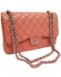 Chanel Borsa a mano in pelle rosa Timeless/Classique