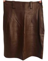 Dior Leather Skirt - Brown