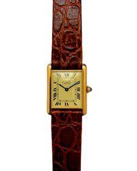 Cartier Tank Must Silver Gilt Watch - Red