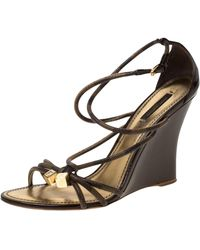 Louis Vuitton \n Brown Patent Leather Sandals