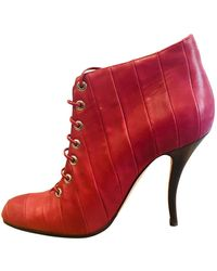 Manolo Blahnik \n Burgundy Leather Ankle Boots - Red