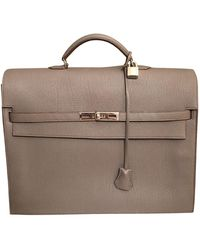 Hermès Kelly Leder Business tasche - Grau