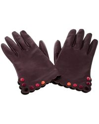 Fendi Burgundy Leather Gloves - Purple
