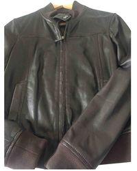 CALVIN KLEIN 205W39NYC Leather Biker Jacket - Brown