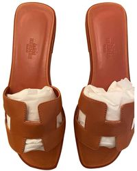 Hermès Oran Leder Pantoffeln - Pink
