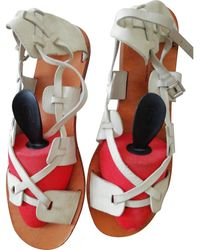 A.P.C. White Leather Sandals
