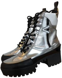 dde81167c3b6 Louis Vuitton - Laureate Silver Leather Ankle Boots - Lyst