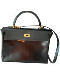 Hermès Bolsa de mano en cuero negro Kelly 32 - Multicolor