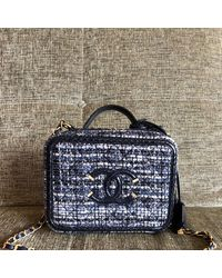 Chanel Vanity Tweed Handbag - Blue