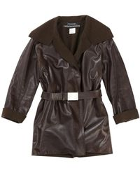 Chanel Brown Leather Coat
