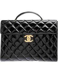 Chanel Timeless/classique Patent Leather Satchel - Black