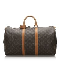 Louis Vuitton Sac de voyage Keepall en Toile Marron